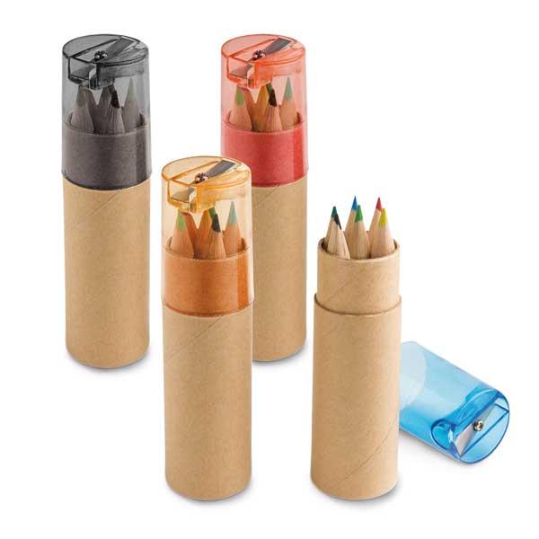Caixa de cartão com 6 mini lápis de cor - YBP91751